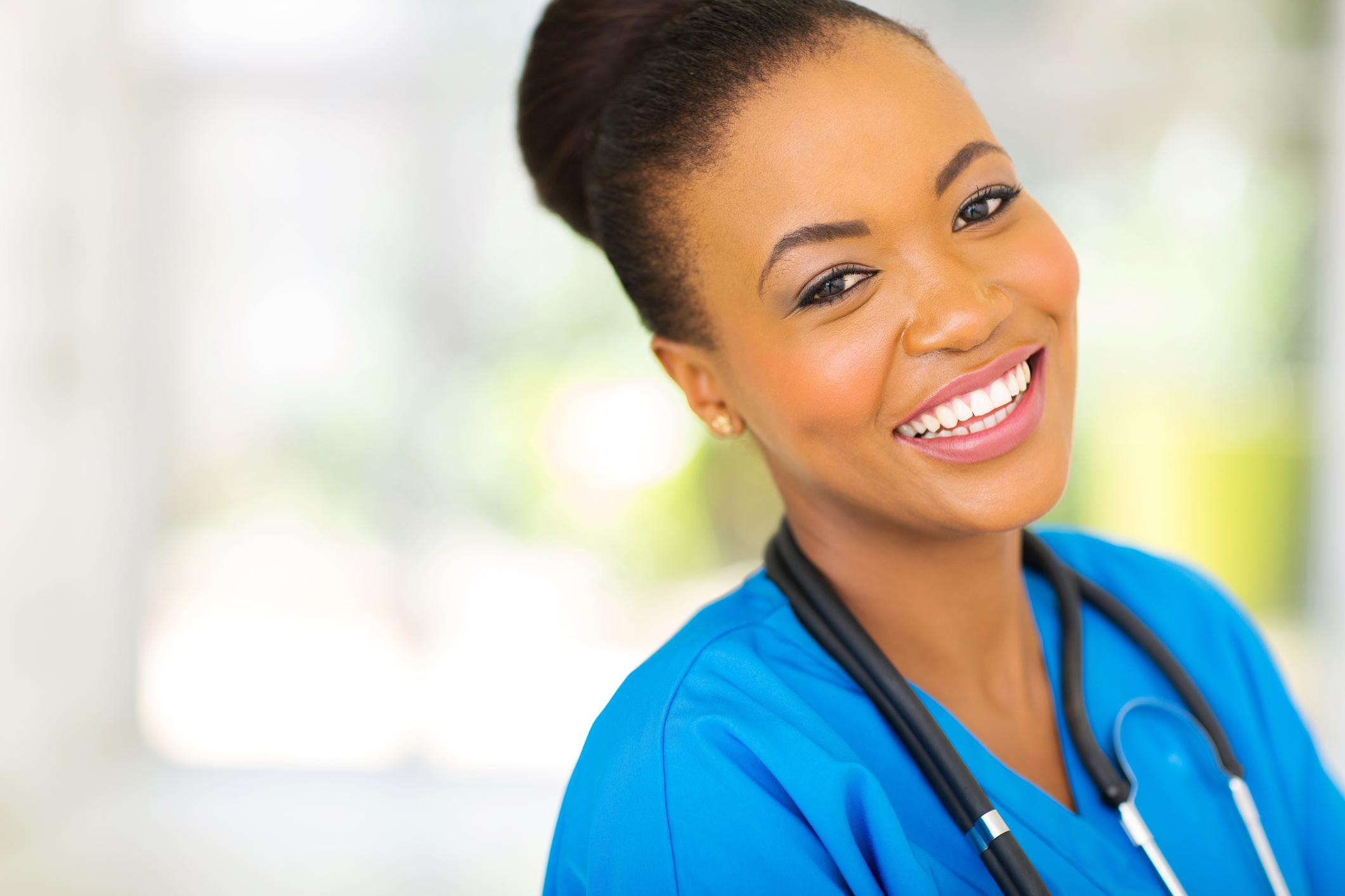 happy african nurse